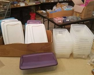 18 shoebox size plastic totes with lids