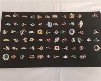 approximately 65 assorted rings