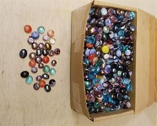 large lot of assorted glass half Moons
