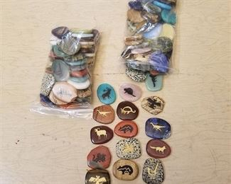 etched colored and Polished stones - large assortment