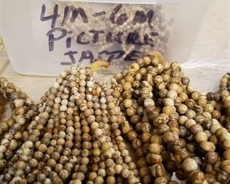 4 mm to 6 mm picture Jasper colored beaded strands