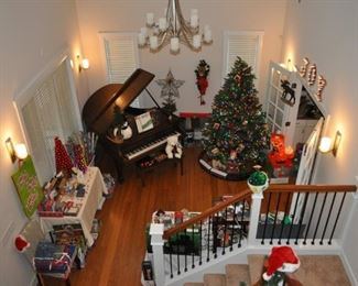 Beautiful Haddorff Parlor Grand Piano, lighted 7.5' Christmas tree, lots of ornaments, mostly NIB, Christmas wrapping paper/ribbon/gift boxes/gift bags, lighted JOY sign, Christmas decor, trains, lighted fox, and more!