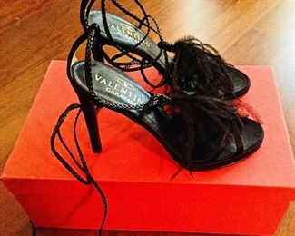 VALENTINO GARAVANI BLACK FEATHERS, SATIN, LEATHER LACE-UP OPEN-TOE SHOES: Size 36.5. Heel height: 4 ¼ inch satin heel. Long leather braided ties for versatile wear. Condition: Very good. Retail Value: $1,345. Price: $200.