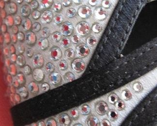 VALENTINO GARAVANI RHINESTONES ON SILVER SATIN, TRIMMED IN BLACK SATIN: Size 37. Heel height: Black satin 4 inch heel. Condition: Very good. $200.