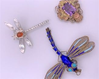 Sterling silver and enamel dragonfly pins, gold filled amethyst brooch.