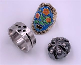 Kalo silver band, Spratling  button, Chinese enamel and silver ring
