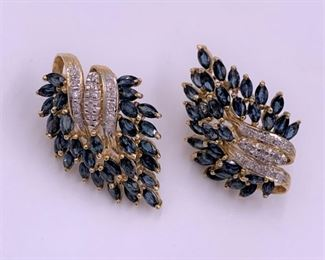 Stunning gold, sapphire and diamond earrings