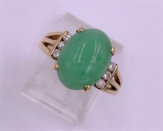 Gold, jade and diamond ring