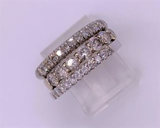 Stackable diamond bands, white gold and platinum
