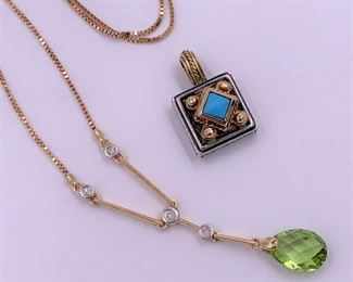 Peridot and diamond necklace, Konstantino silver and gold pendant