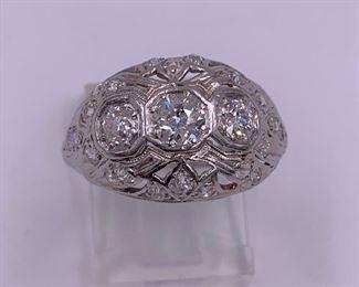 Gorgeous vintage platinum and diamond ring