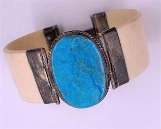 Interesting bone and turquoise cuff bracelet
