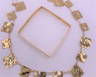 14K gold modernist necklace and bracelet