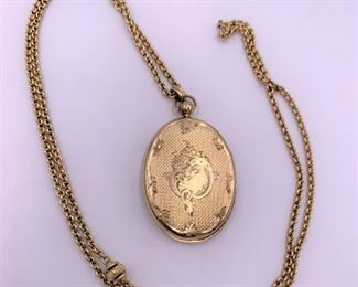 14K gold locket and chain