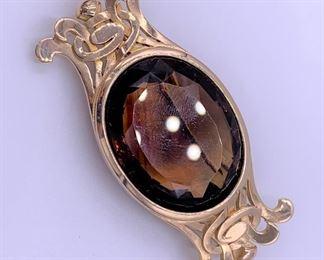 14k gold smokey quartz pin