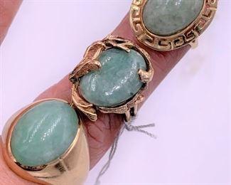 Three jade rings - all 14K gold.