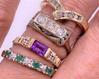 14K gold, diamonds, emeralds, amethyst