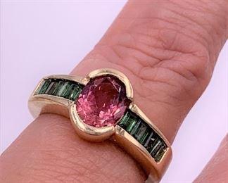 14K gold trillium and emerald ring