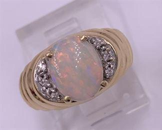 Opal, diamonds, and 14K gold