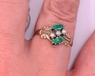 14K gold with emeralds and pearls