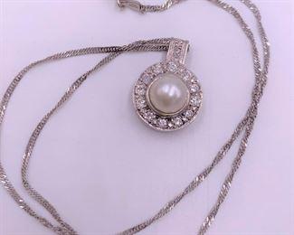 14K white gold, diamonds and pearl pendant
