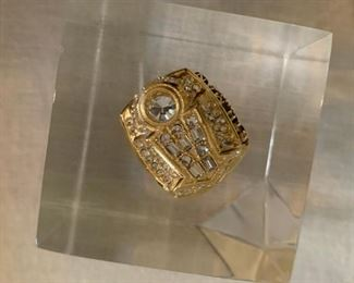 Bulls commemorative ring in lucite cube