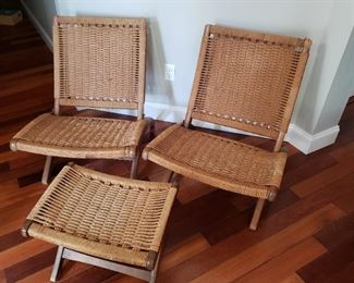 Rare Vintage Mid Century Wood & Rope Folding Lounge Chairs with Ottoman in Style of Hans Wegner