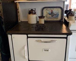 Olympic white enameled wood cook stove in working condition