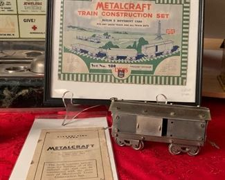 VINTAGE 1930'S METALCRAFT TRAIN CAR WITH ORIGINAL INSTRUCTIONS