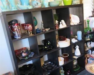 Depression glass, vases and more vases.
