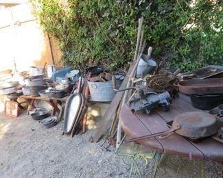 Enamelware, farm equipment, crocks.
