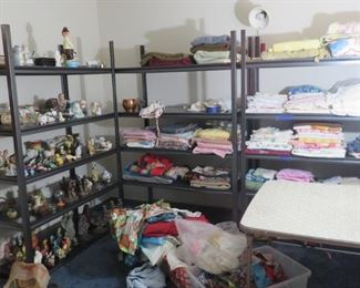 Vintage linens and bric-a-brac