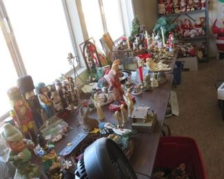 Entire room of vintage Christmas and Halloween.
