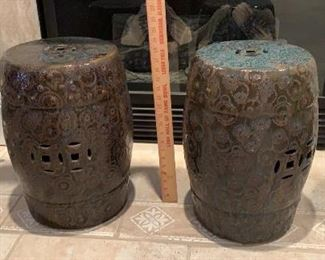 Pair of decorative urns or side table brown and teal. $75