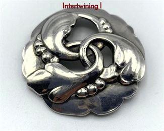 Lot 6 GEORG JENSEN 20 Sterling Silver Brooch. Intertwining l