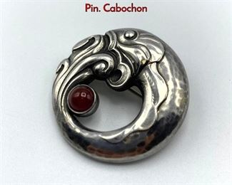 Lot 8 GEORG JENSEN 10 Sterling Silver Dolphin Pin. Cabochon