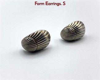 Lot 13 GEORG JENSEN 90 Sterling Silver Shell Form Earrings. S