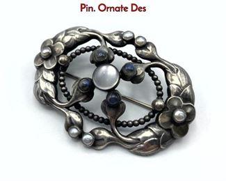Lot 14 GEORG JENSEN 76 Sterling Silver Brooch Pin. Ornate Des