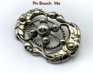 Lot 16 GEORG JENSEN 76 Sterling Silver Ornate Pin Brooch. Ma