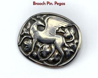 Lot 18 GEORG JENSEN 84 Sterling Silver Oval Brooch Pin. Pegas