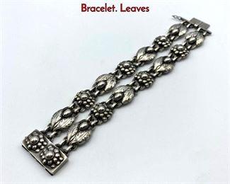 Lot 21 GEORG JENSEN 3 Double Sterling Silver Bracelet. Leaves