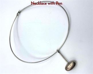 Lot 31 2pc GEORG JENSEN 47A Sterling Silver Necklace with Pen