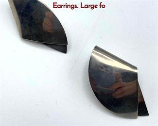 Lot 33 Pr GEORG JENSEN 200 Sterling Silver Earrings. Large fo
