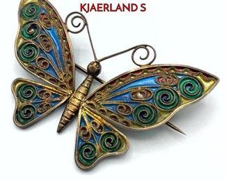 Lot 37 Plique a Jour Enamel Butterfly Brooch. J.G. KJAERLAND S