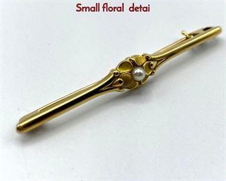 Lot 38 18K Gold GEORG JENSEN 237 Bar Pin. Small floral detai