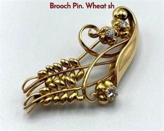 Lot 40 18K Gold GEORG JENSEN 350 Diamond Brooch Pin. Wheat sh