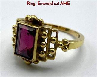Lot 41 18K Gold GEORG JENSEN 220 Ladies Ring. Emerald cut AME