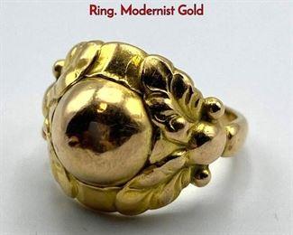 Lot 42 18K Gold GEORG JENSEN 111B Ladies Ring. Modernist Gold