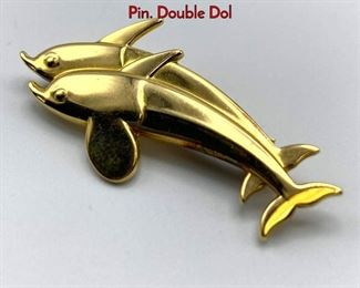 Lot 43 18K Gold GEORG JENSEN 1317 Dolphin Bar Pin. Double Dol