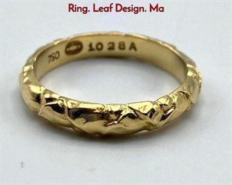 Lot 44 18K Gold GEORG JENSEN 1028A Band Ring. Leaf Design. Ma